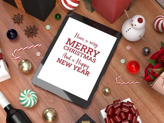 クリスマスタブレットパッドのお祝い3dリアルな敷設モックアップマーケティング Premium Psd