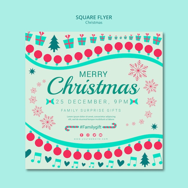 Christmas template square flyer Free Psd