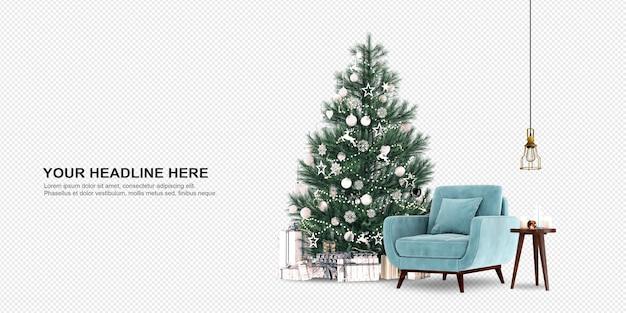 크리스마스 트리와 안락의 자 3d 렌더링 프리미엄 PSD 파일