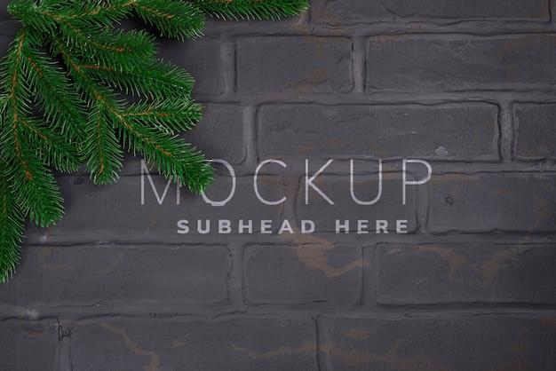 Christmas tree on brick wall background Premium Psd