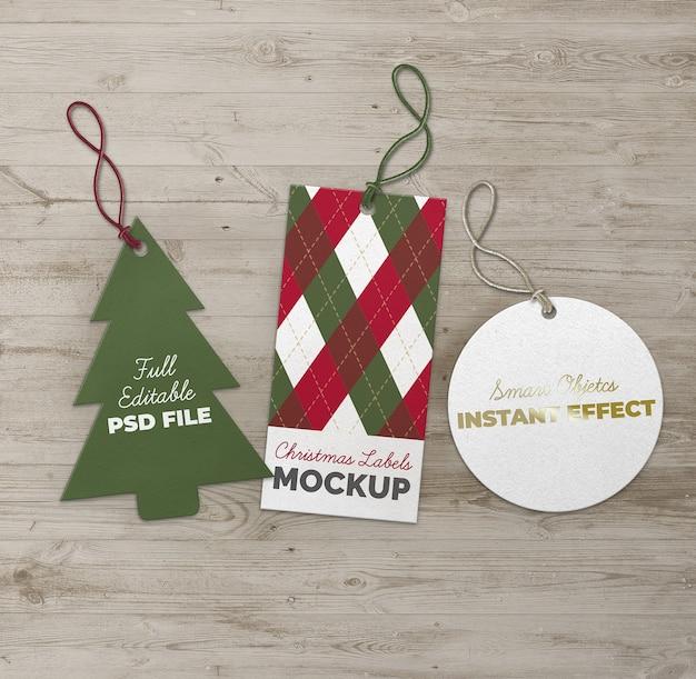 Рождественская елка круг и прямоугольник этикетки макет Бесплатные Psd