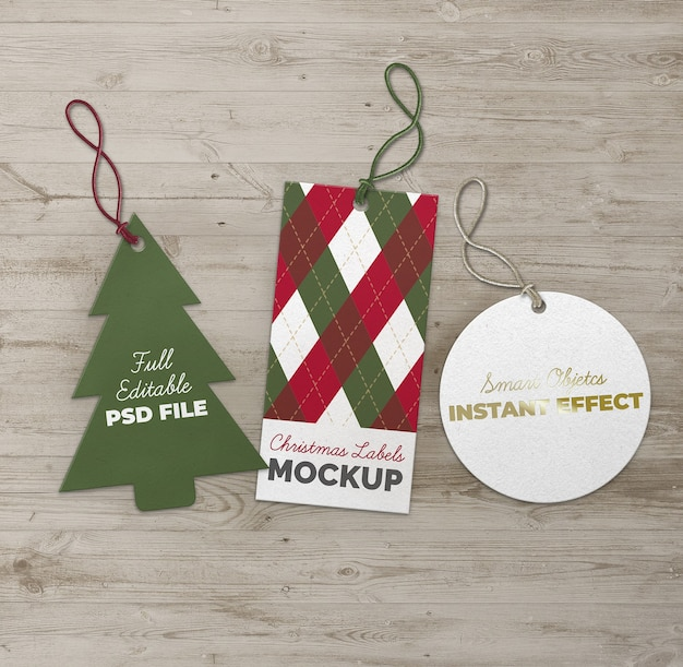 Christmas tree circle and rectangle labels mockup Free Psd