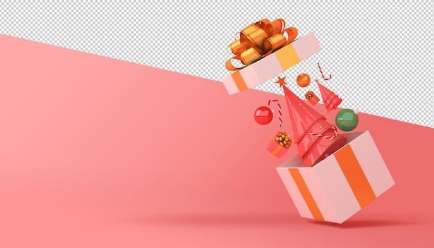 Cây thông Noel và hộp quà kết xuất 3D Psd cao cấp