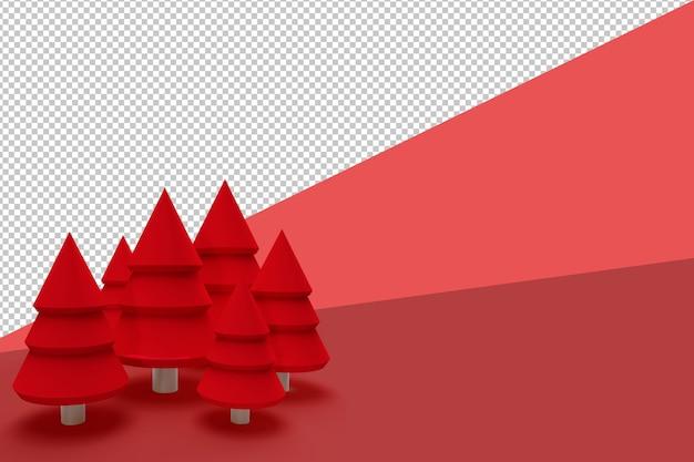 고립 된 3d 렌더링 된 크리스마스 트리 프리미엄 PSD 파일