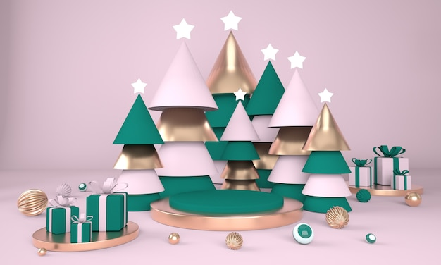 Christmas tree and stage for product display in 3d rendering Premium Psd