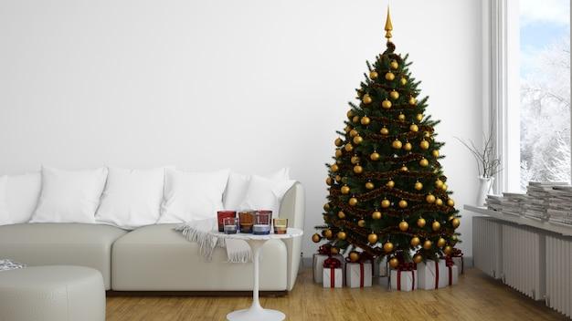 黄金のつまらないものを屋内でクリスマスツリー 無料 Psd