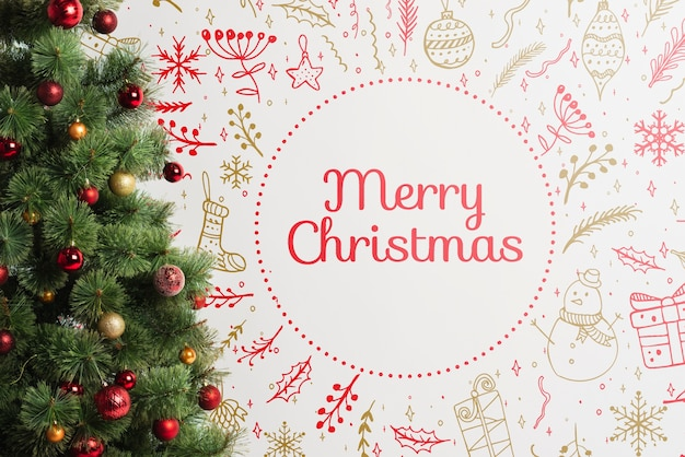 Christmas tree with merry christmas message Free Psd