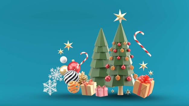 Christmas trees surrounded by gift boxes, crystal balls, candies and snow on blue Premium Psd