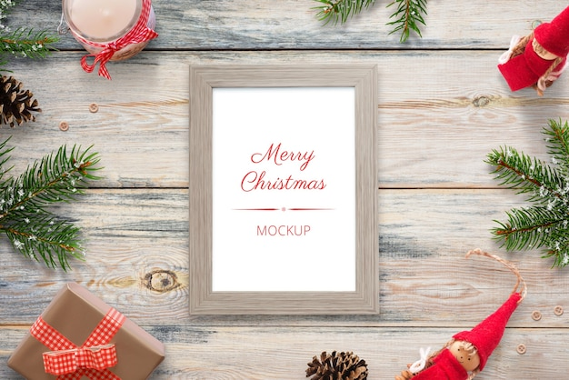 Christmas vertical picture frame mockup Premium Psd
