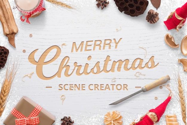 クリスマス木彫りロゴ挨拶テキストモックアップシーン作成者 Premium Psd