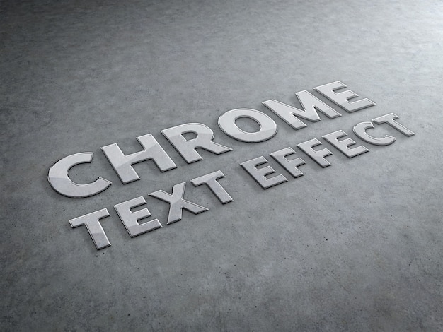 Chrome metal sculpted text effect Premium Psd