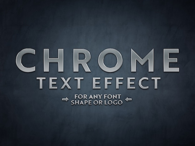 Chrome metal scuplted text effect mockup Premium Psd