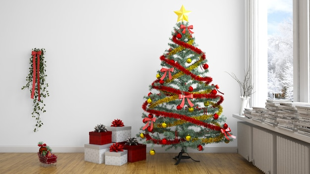 Chrsitmas tree and presents indoors Free Psd