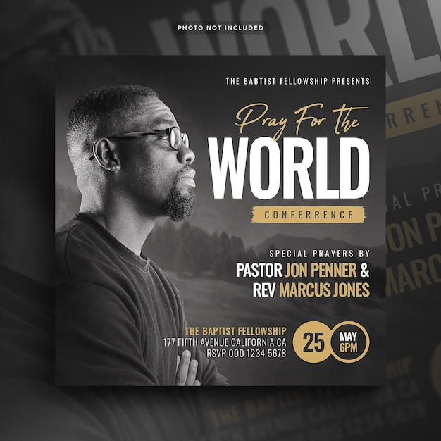 Church conference flyer pray for the world social media post and web banner Premium Psd