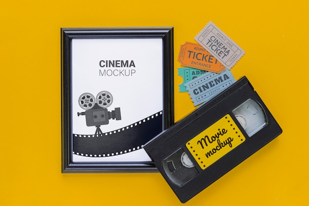 Cinema concept with old tape Free Psd