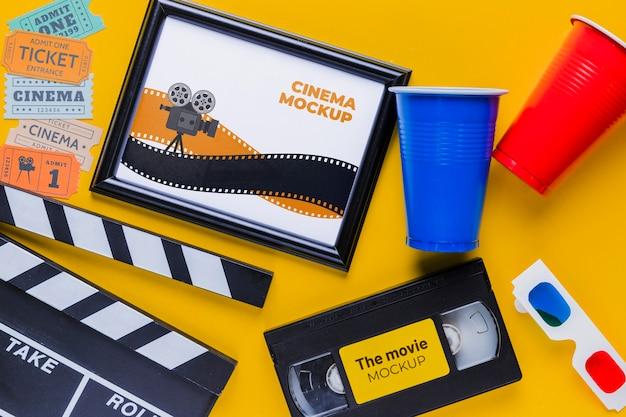 Cinema items mock-up concept Free Psd