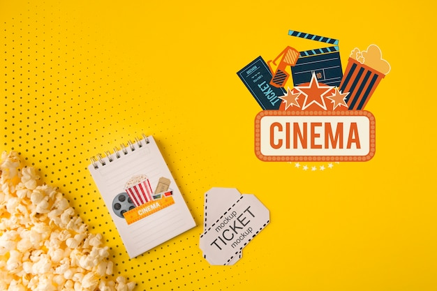 Cinema tickets and popcorn top view Free Psd