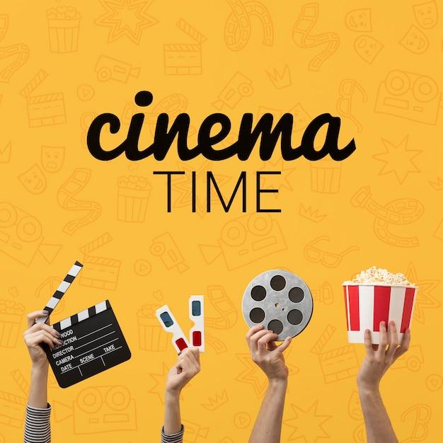 Время кино с 3d-очками и попкорном Бесплатные Psd