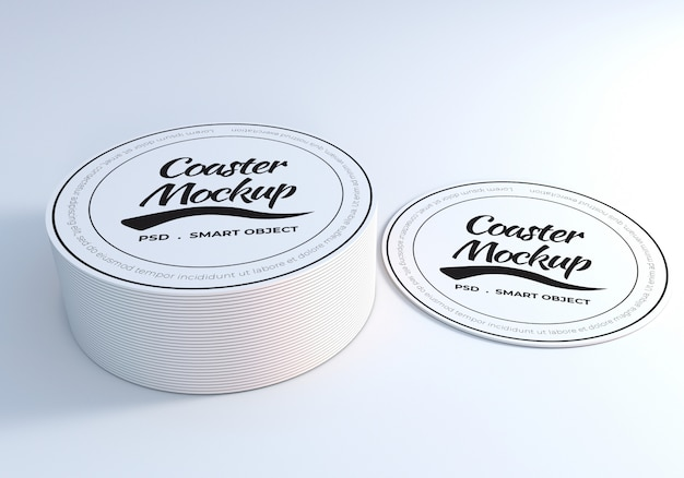 Circle coaster table mockup Premium Psd