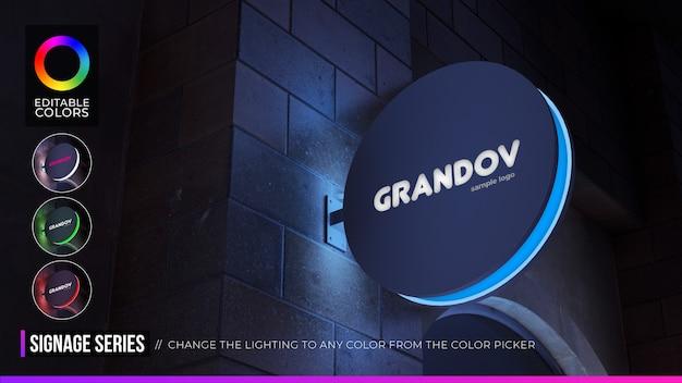야간 환경에서 편집 가능한 색상으로 원형 로고 모형 정지 기호 프리미엄 PSD 파일