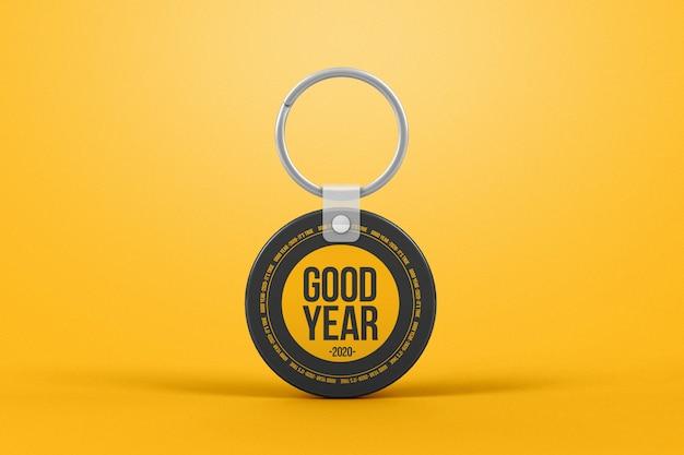 Circle plastic keychain mockup Premium Psd