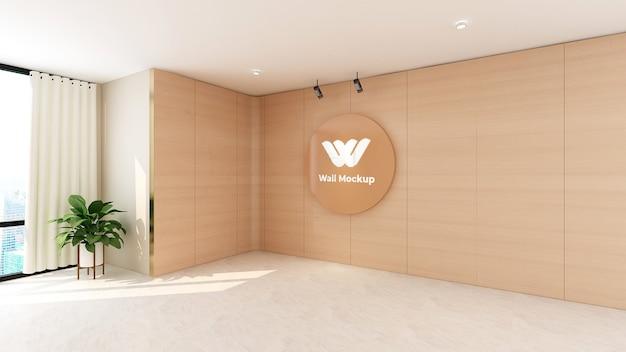 사무실 벽 디자인에 원형 나무 로고 모형 프리미엄 PSD 파일