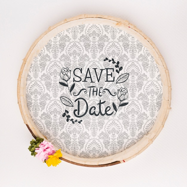 Circular vintage frame with flowers save the date mock-up Free Psd