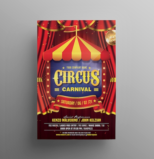 Цирк флаер карнавал Premium Psd