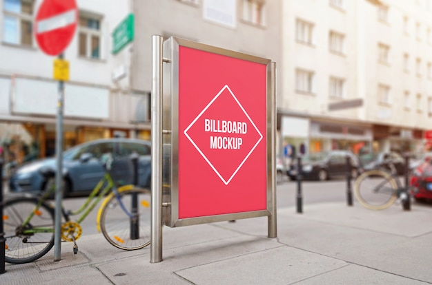 City billboard with isolated surface for mockup, design presentation. Premium Psd