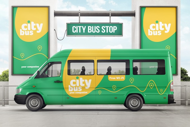 City bus on bus stop branding mockup Premium Psd