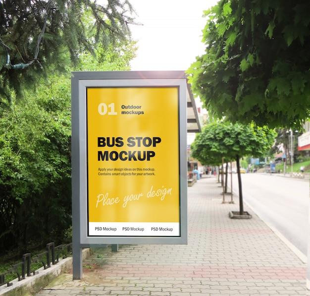 City bus stop billboard mockup Premium Psd