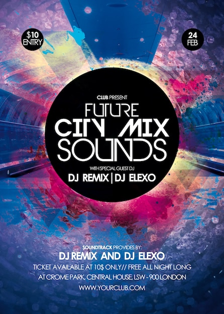 City mix sounds party flyer PSD file | Premium Download