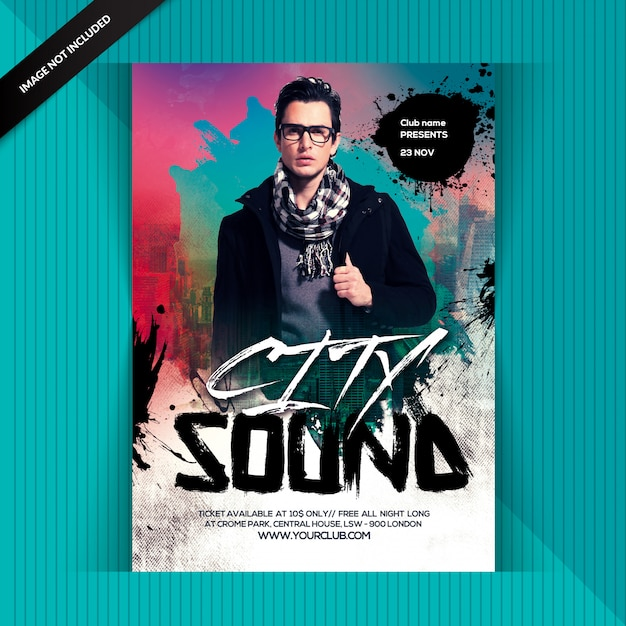 City night sound party Premium Psd