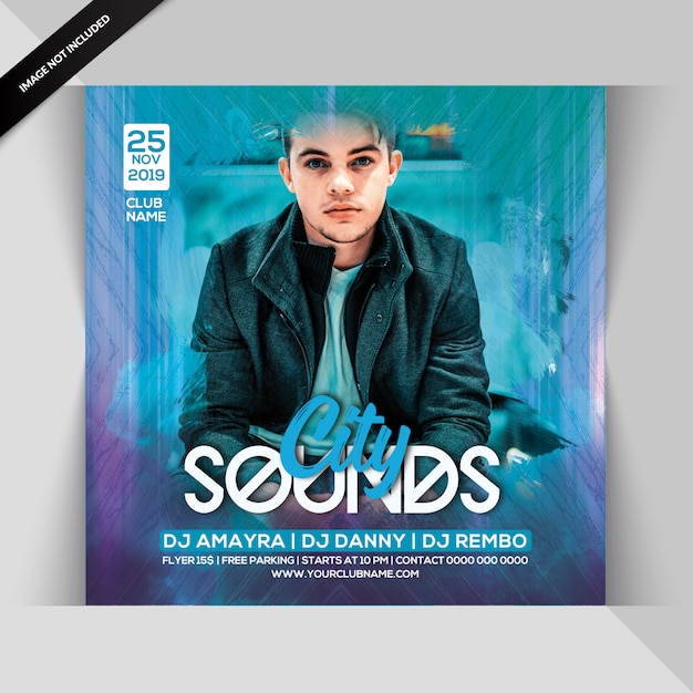 City sounds night party flyer Premium Psd