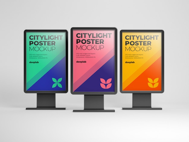 Citylight poster mockup with editable background color Premium Psd