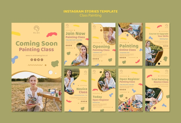 Class painting instagram stories template Free Psd