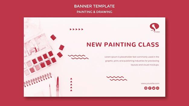 Classi di modello di banner di disegno e pittura Psd Gratuite