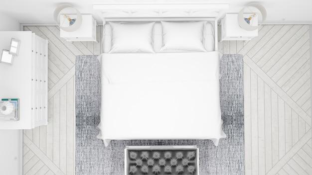 Классическая спальня или номер в отеле с двуспальной кроватью и элегантной мебелью, вид сверху Бесплатные Psd