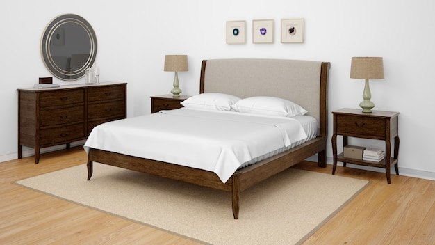 Классическая спальня или гостиничный номер с двуспальной кроватью Бесплатные Psd
