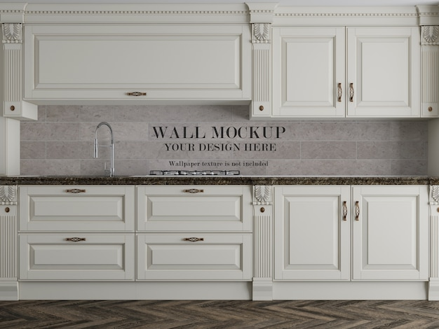 Classic kitchen wall mockup with accessories Premium Psd