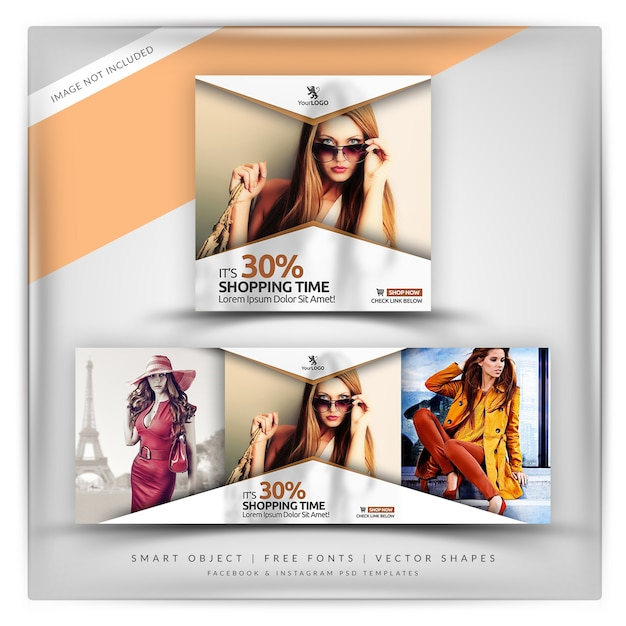 Classic style sale instagram & facebook banner PSD file