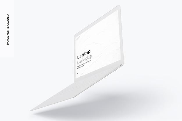 粘土のラップトップモックアップフローティング右ビュー Premium Psd