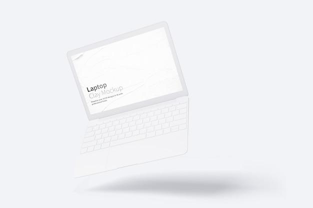 フローティングクレイラップトップモックアップ Premium Psd