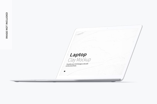 粘土のラップトップモックアップフロント右ビュー Premium Psd