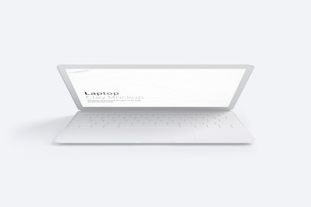 クレイラップトップモックアップ、正面図 Premium Psd
