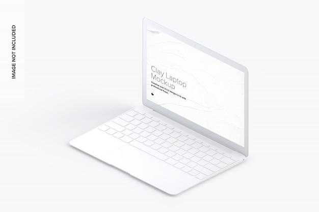 粘土のラップトップのモックアップ、等角投影の右側面図 Premium Psd