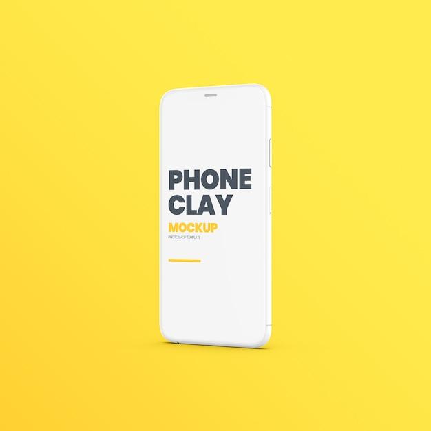 Clay phone device standing mockup Premium Psd