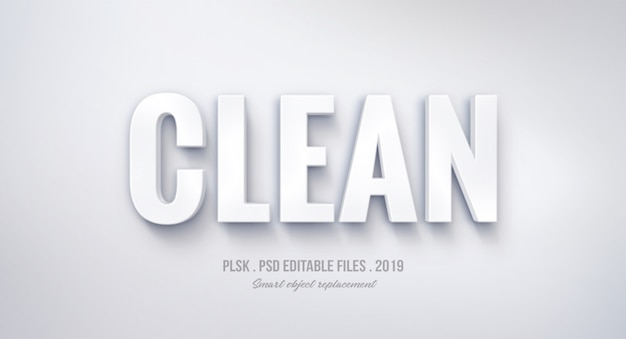 Clean 3d text style effect Premium Psd