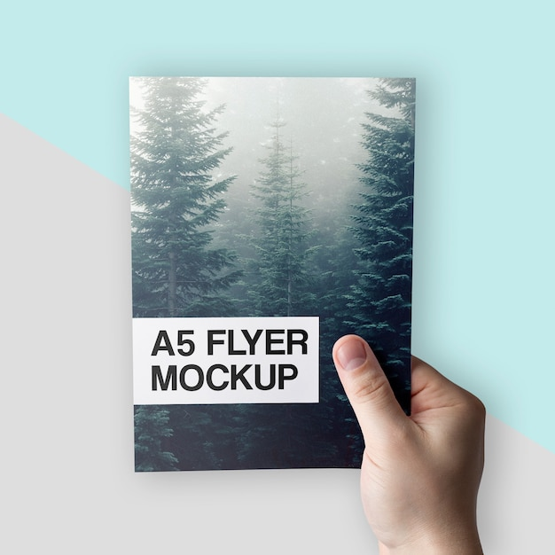 Clean A5 Flyer In Hand Mockup Psd Mockup Free Psd Packaging Mockups