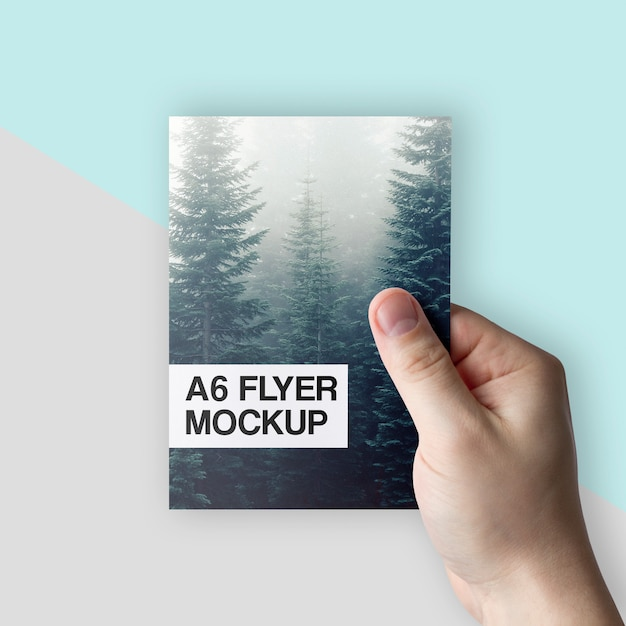 Clean A6 Flyer In Hand Mockup Psd Mockup Free Packaging Psd
